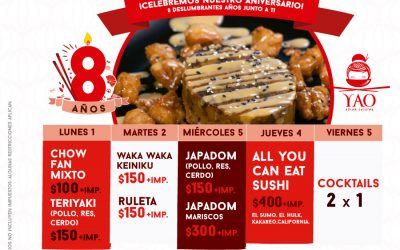 ¡La familia YAO Asian Cuisine celebra su deslumbrante 8vo Aniversario!